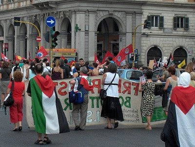 Demonstratie in Rome; Demonstration in Rome