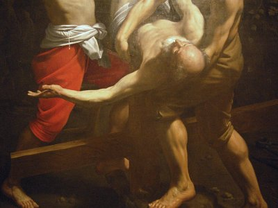 Guido Reni, kruisiging van Petrus, detail (Rome).; Guido Reni, Crucifixion of St Peter (Rome)