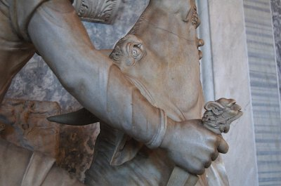 Mithras die een stier slacht (detail), Rome.; Mithras and the Bull (detail), Rome.