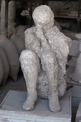 Gipsafgietsel, Pompeii; Cast of a mule-driver, Pompeii, Campania, Italy