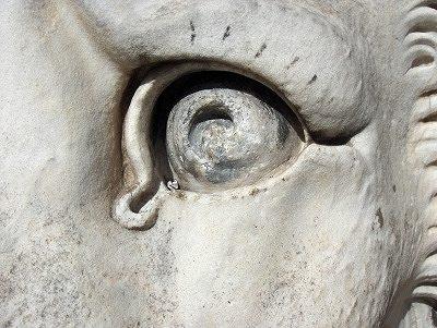 Oog van een gebeeldhouwde leeuw; The eye of a sculptured lion