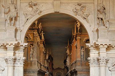 Proscenium, Teatro Olimpico, Vicenza; Teatro Olimpico (Andrea Palladio), Vicenza, Italy