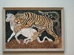 Tijger die kalf aanvalt. (Rome); Tiger attacking a calf.