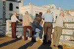 Hangouderen in Locorotondo (Apulië, Italië); Elderly men in Locorotondo (Apulia, Italy)